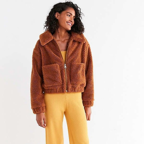 Urban Outfitters Jackets Coats Up Cropped Teddy Jacket Poshmark